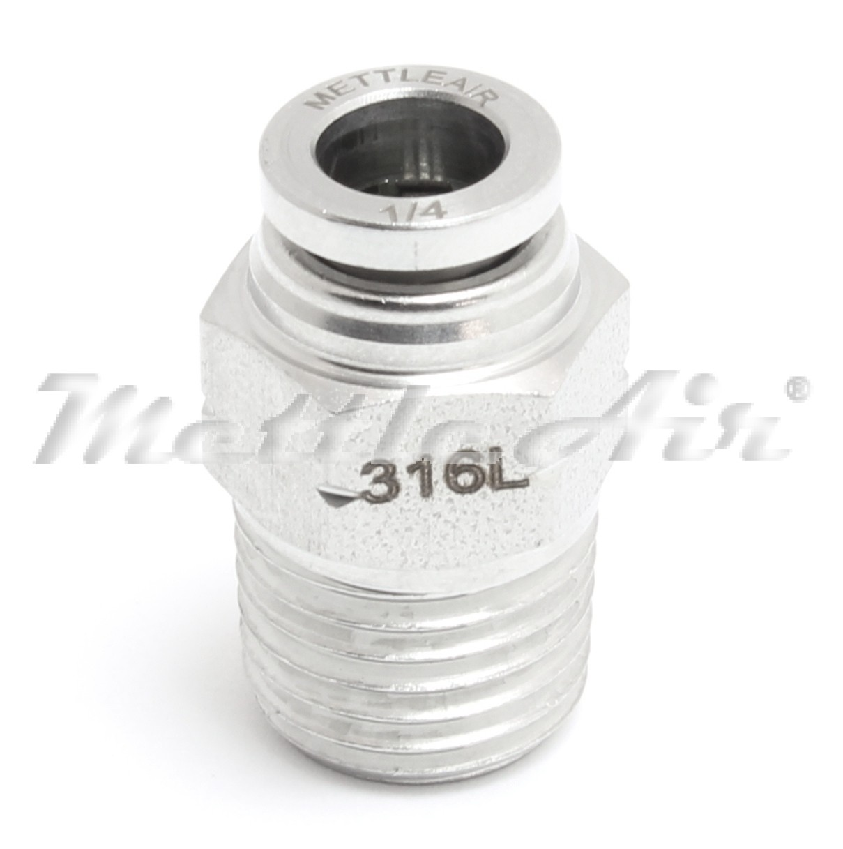 MettleAir 316L Stainless Steel 1//2 OD x 1//2 NPT Elbow Male Push in to Connect Fitting 90/° One Touch Brass SMTL1//2-N04
