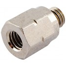 Brass Pipe Adaptor 10-32 UNF Female - 10-32 UNF Male Nickel Plated