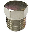 "Brass Hex Head Pipe Plug 1/16"" NPT Male -  Nickel Plated"